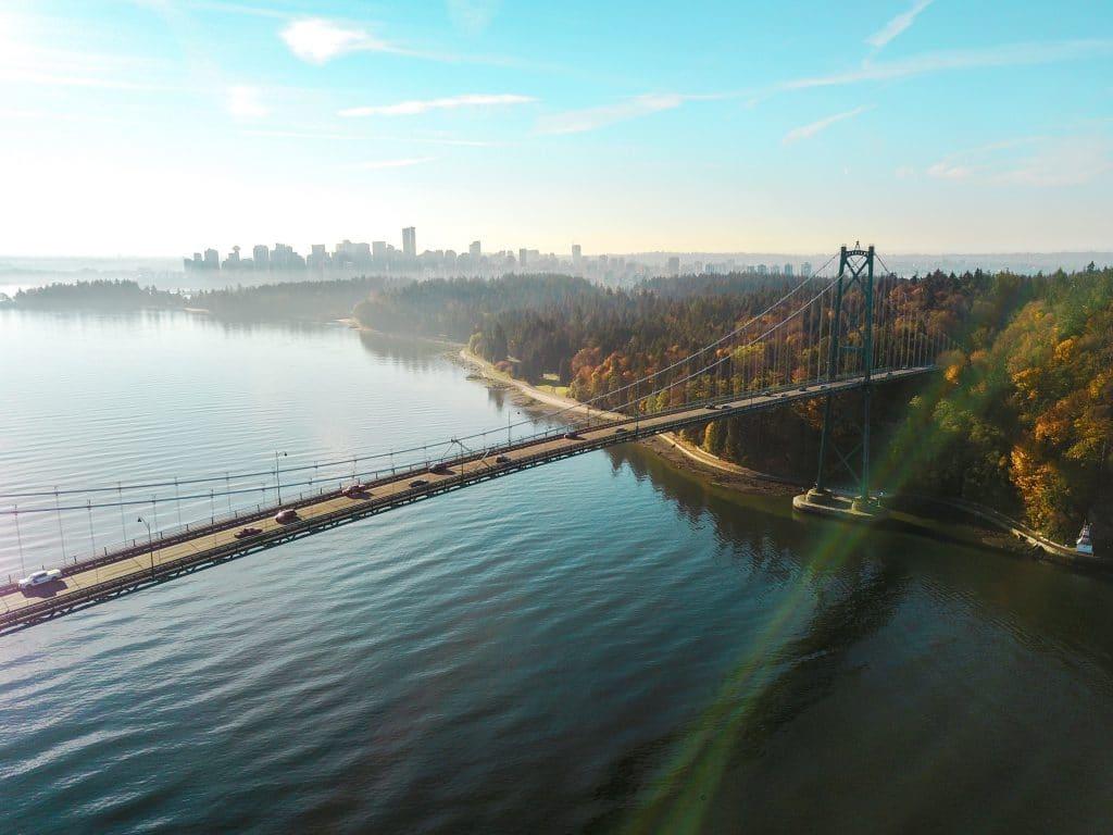Vancouver Lions gate bridge leading into Stanley Park