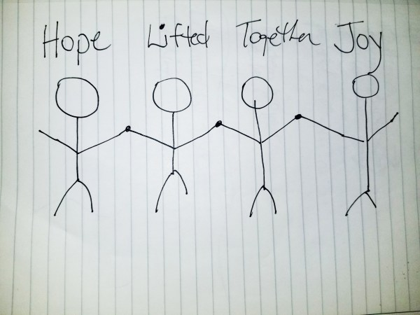 "A drawing of four stick figures holding hands with the words ""hope,"" ""lifted,"" ""together,"" and ""joy"""