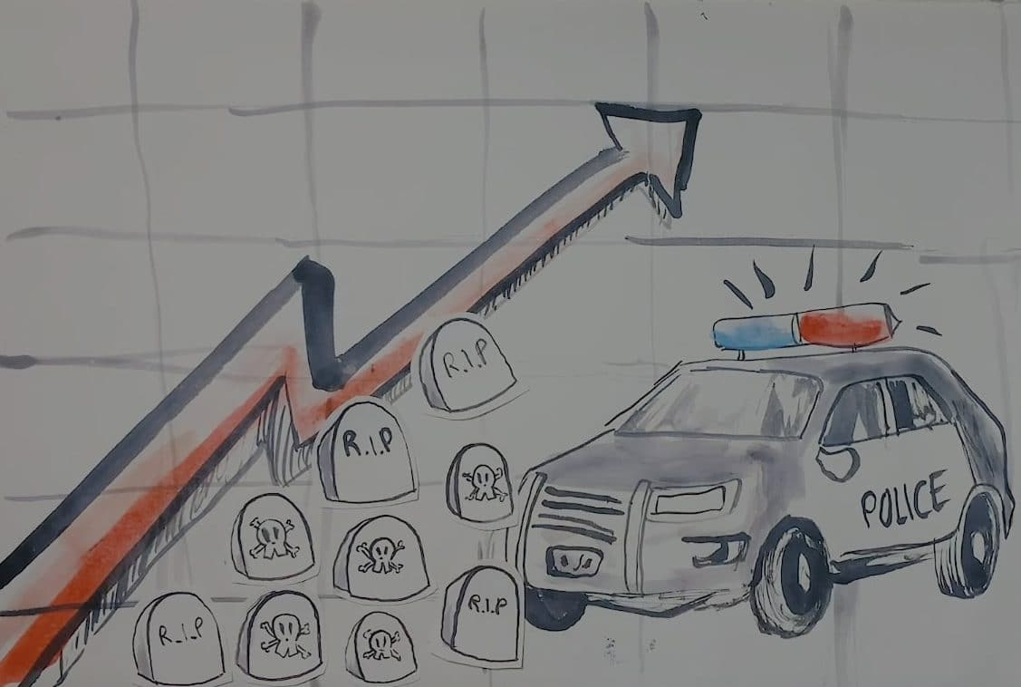 Paintbrush illustration of a police car and a rising line on a graph