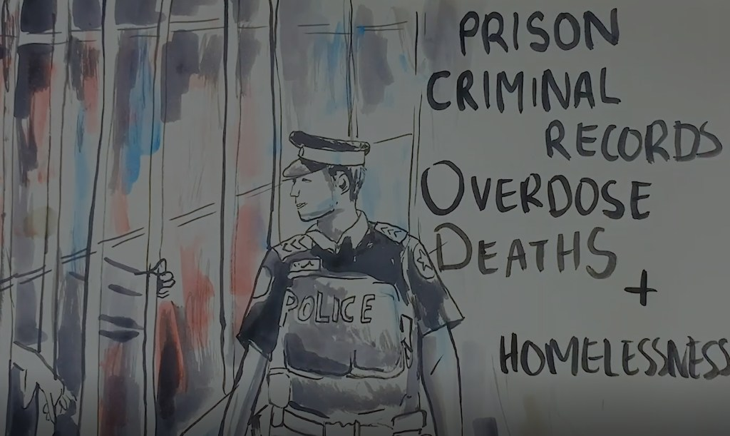 """Paintbrush illustration of a police officer with the words """"overdose deaths,"""" """"criminality,"""" and """"homelessness"""" beside him 