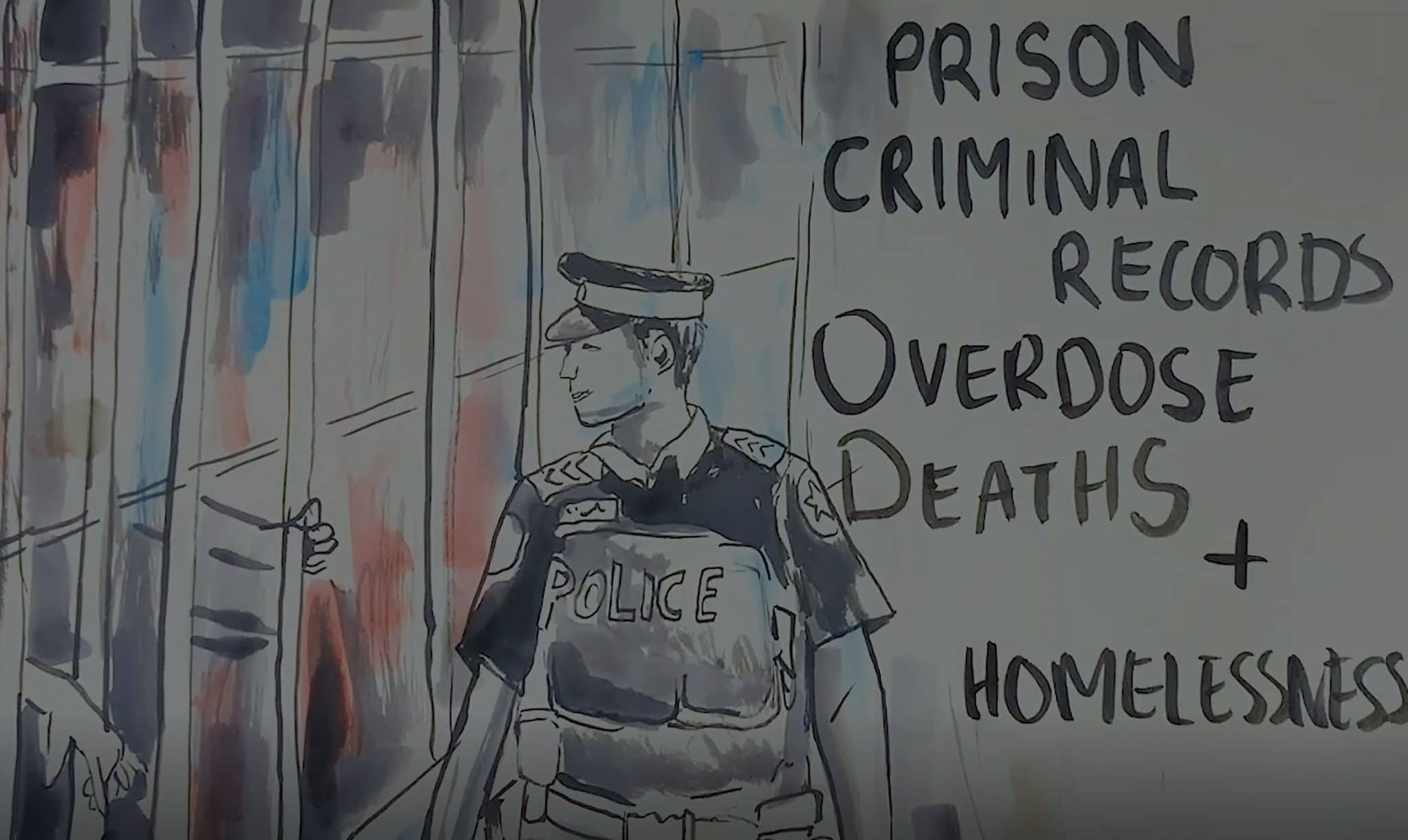 "Paintbrush illustration of a police officer with the words ""overdose deaths,"" ""criminality,"" and ""homelessness"" beside him 