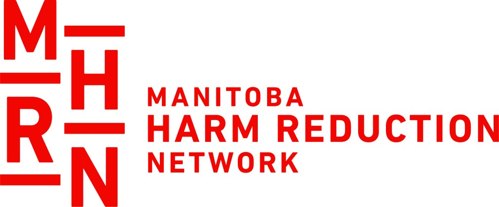 """White and red logo consisting of letters and the phrase, """"Manitoba harm reduction network"""""""