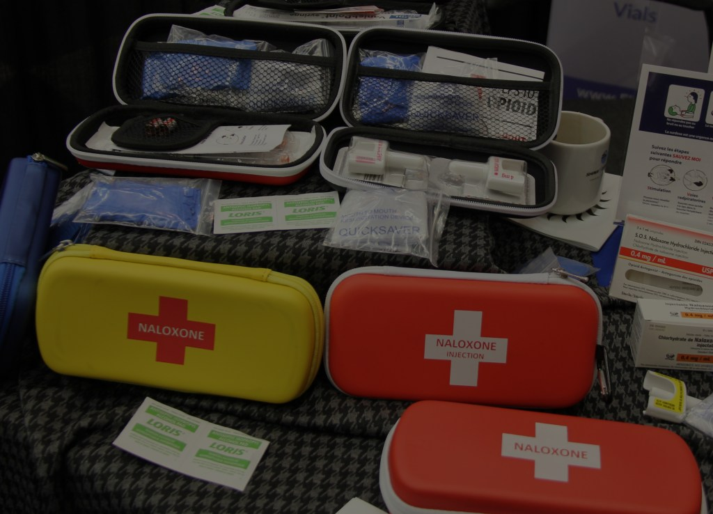 Naloxone kits on a table