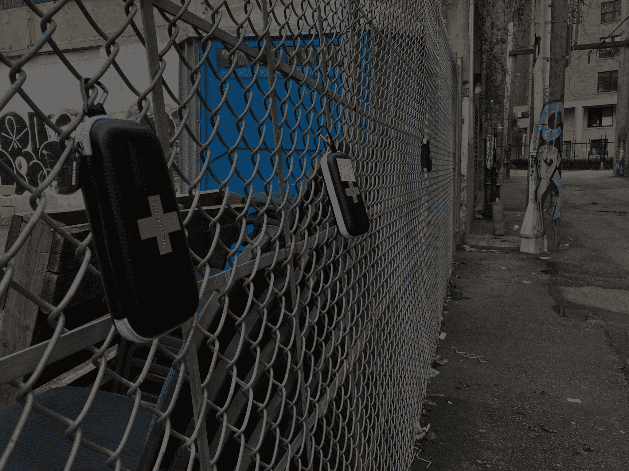 Naloxone case on a chain link fence