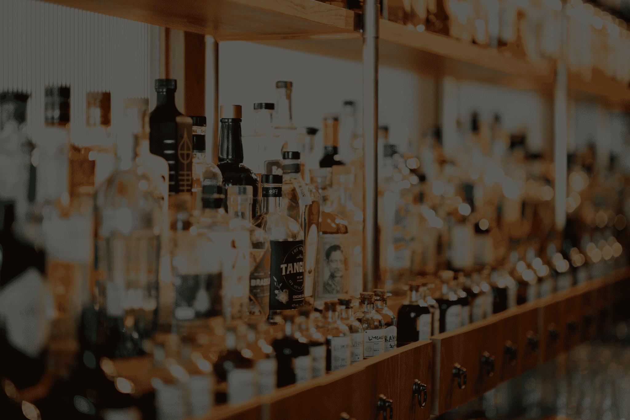 Fully stocked liquor cabinet with liquor