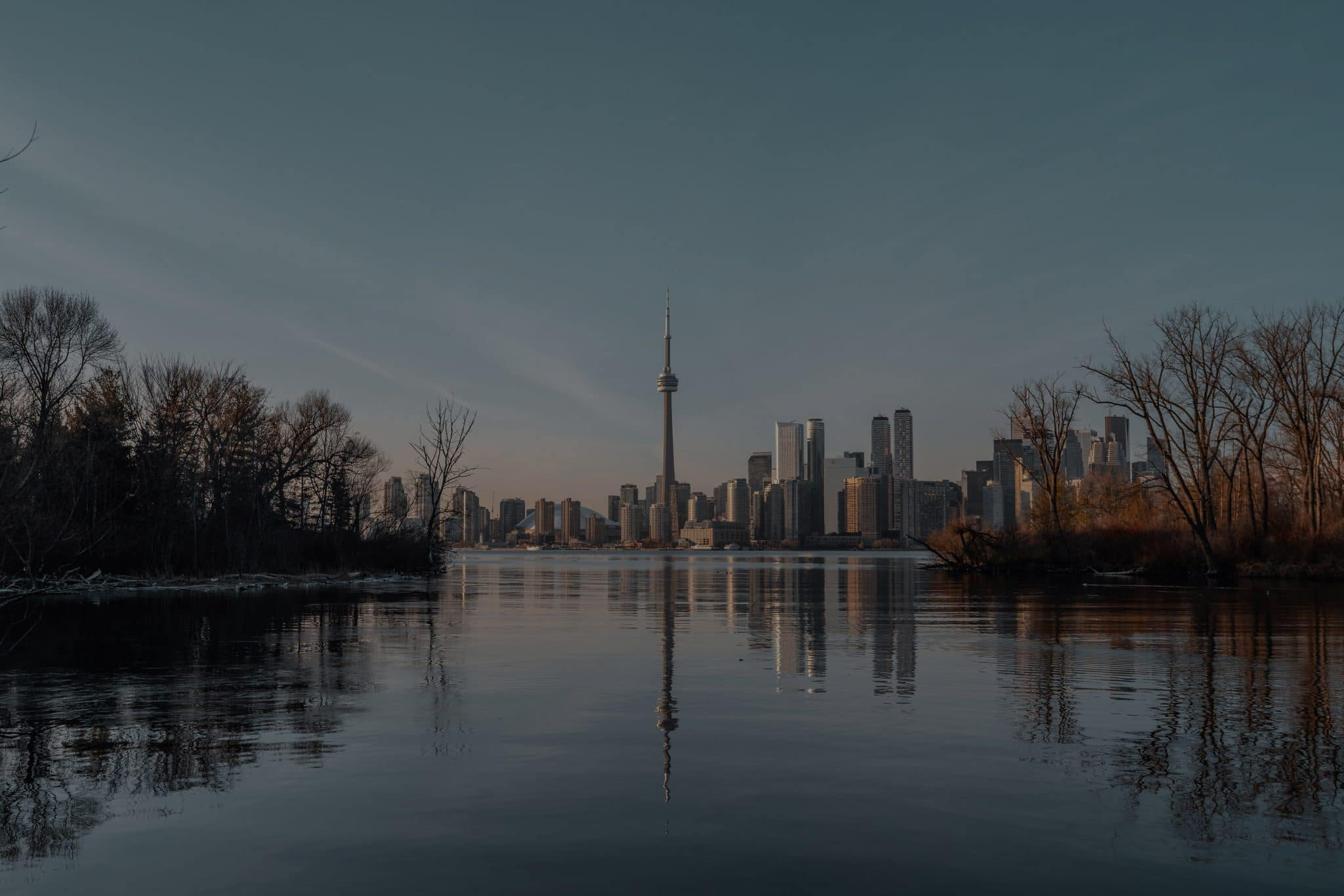 Toronto waterfront with the CN Tower in the distance