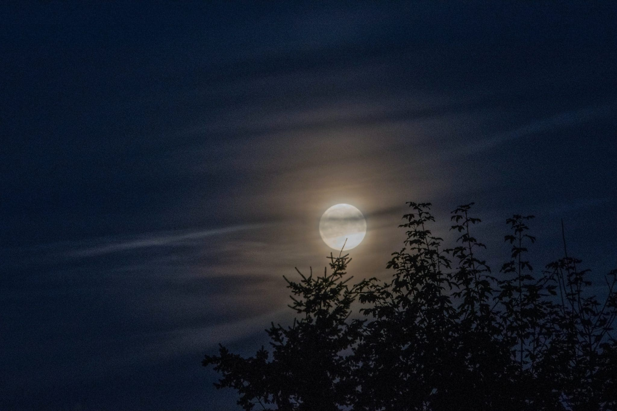 Full moon covered by hazy clouds
