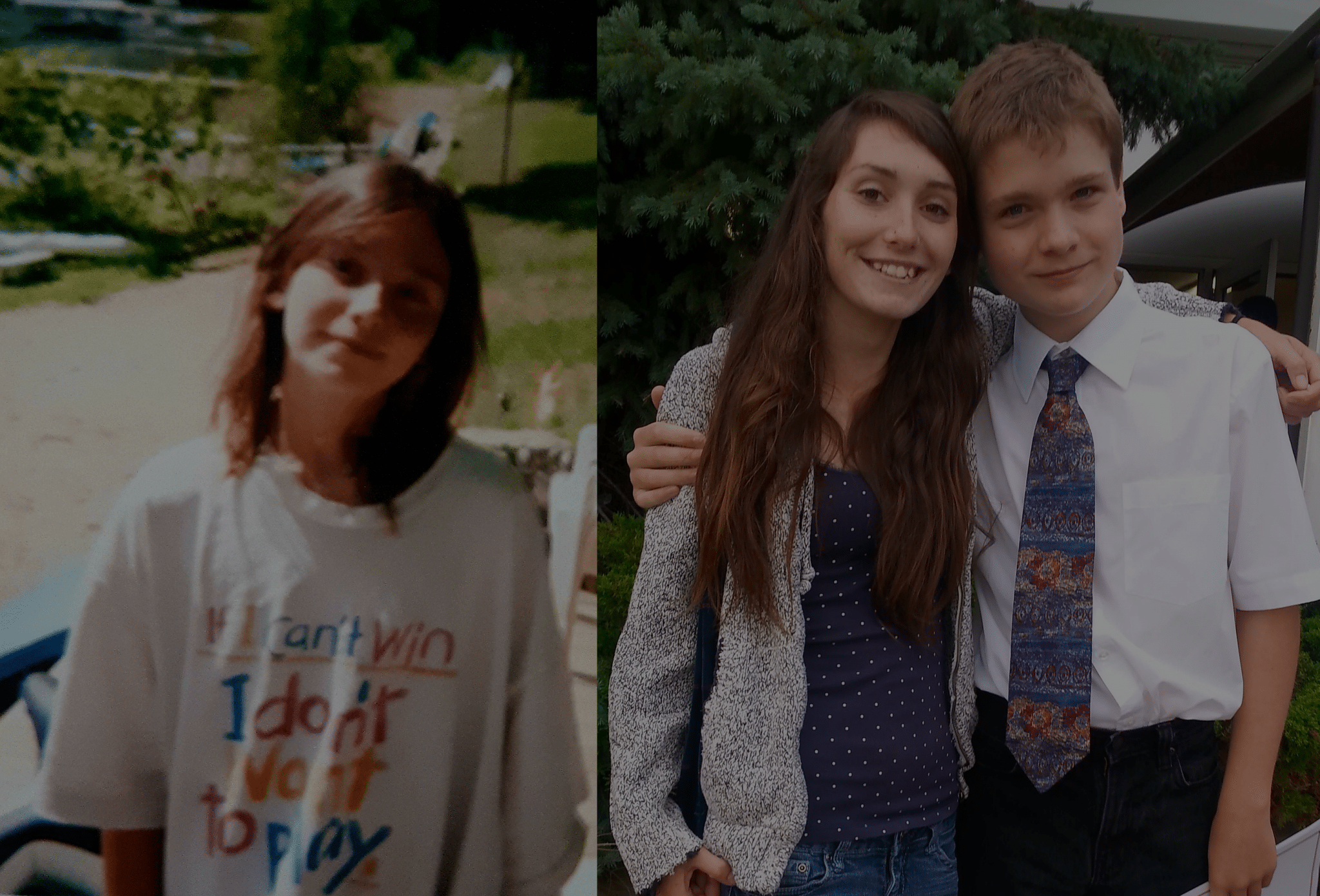 A young woman standing with her brother