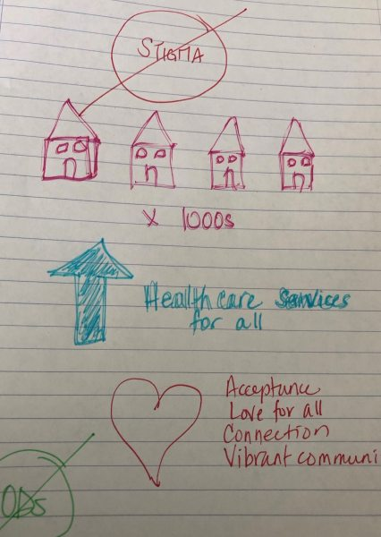 Illustration of four houses and a heart