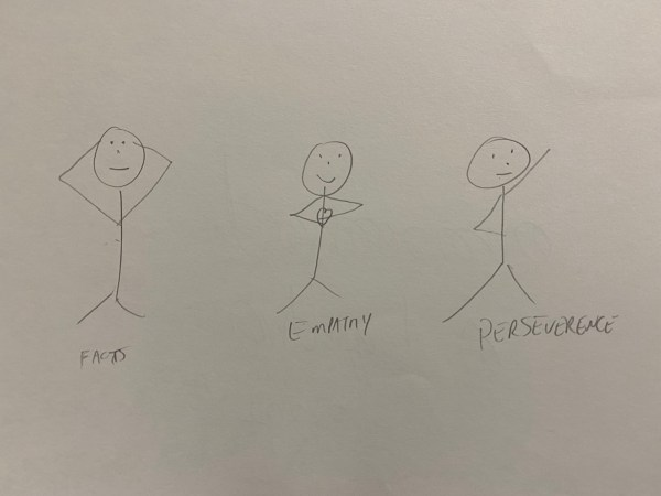 Illustration of three stick people