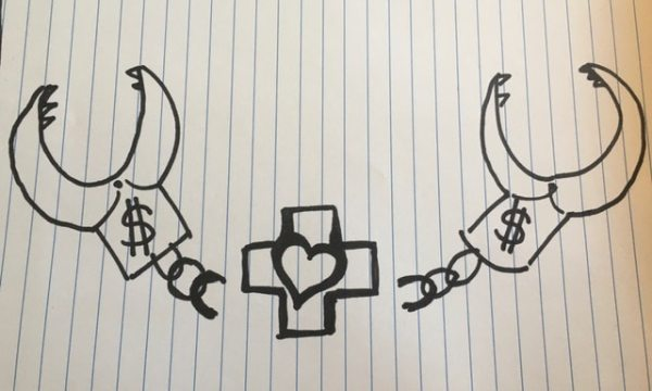 Illustration of handcuffs with claws being broken by a cross and heart